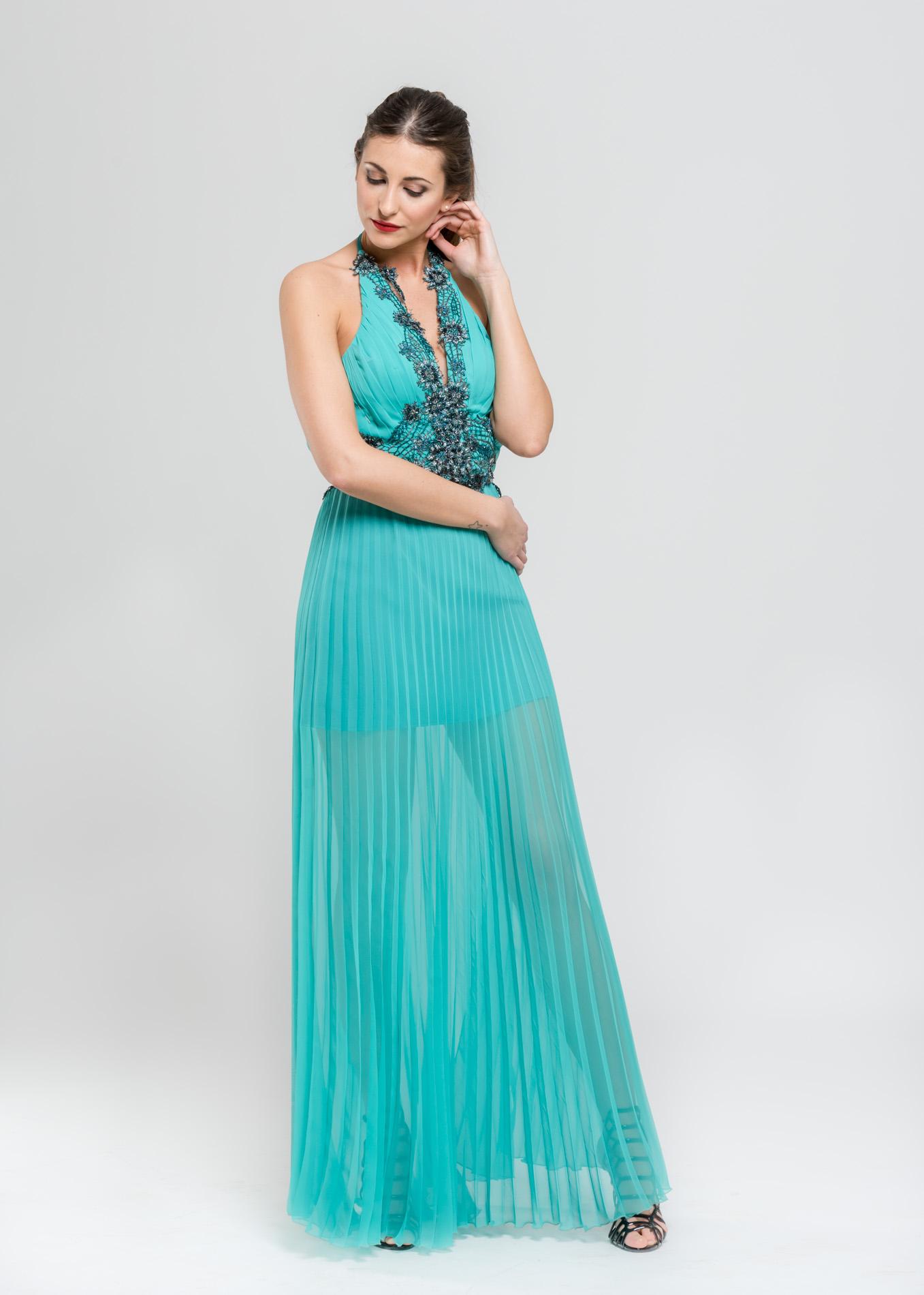 Vestiti Eleganti Verde Acqua.Abito Da Sera Verde Acqua Marianna Michelon